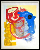 ANDREW SMITH (Contemporary); lithograph, 'Big Red Percolator (Plane): Blue Point on Silver Grey