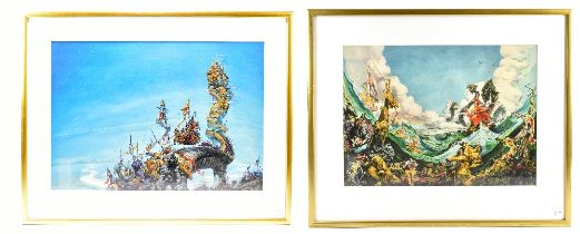 AFTER JOSH KIRBY; pair of colour prints, fantasy scenes, 38.5 x 56cm, both framed and glazed (2).