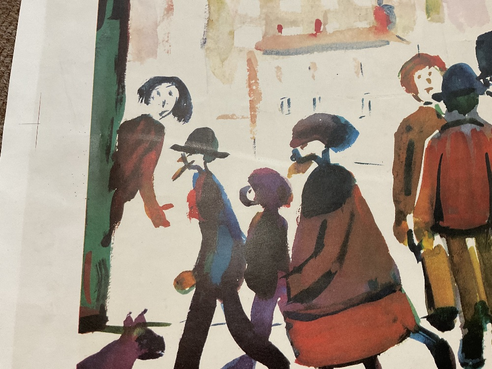 LAURENCE STEPHEN LOWRY RBA RA (1887 - 1976); signed colour print, 'People Standing About', with FATG - Image 15 of 15