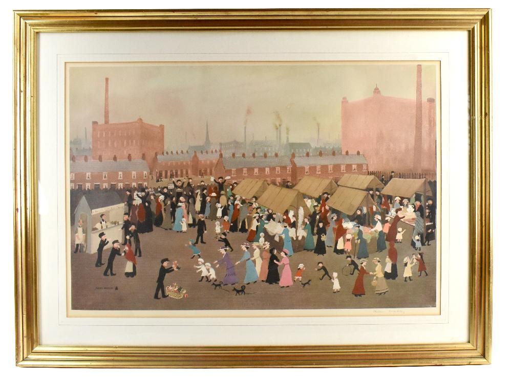 HELEN BRADLEY MBE (1900-1979); signed print, 'Market Day', partial blind stamp lower left, 46 x