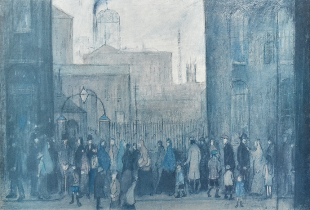 AFTER LAURENCE STEPHEN LOWRY; a limited edition print, figures queuing along a street, with A within - Image 5 of 6