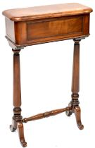 A 19th century mahogany rectangular sewing box, to tapering baluster supports and cross-stretcher,