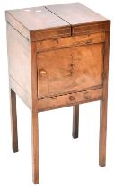 A 19th century mahogany gentlemen's washstand, fold-over top to circular space for washbowl,
