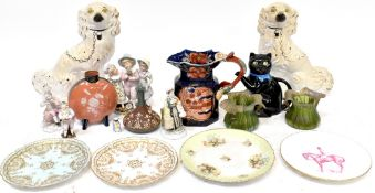 A pair of 19th century Staffordshire dogs, various decorative plates,