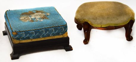 Two Victorian footstools, one with tapestry top (2).