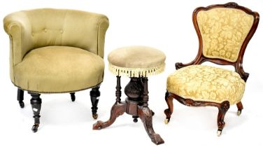 A Victorian mahogany framed nursing chair with gold damask leaf decorated upholstery,