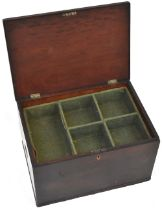 A 19th century stained pine campaign-style wine bottle travel case with hinged lid,