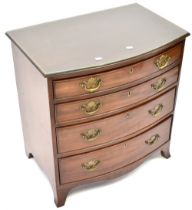 A 19th century mahogany bow-front four-drawer chest, to shaped plinth base, 72 x 69 x 46cm.
