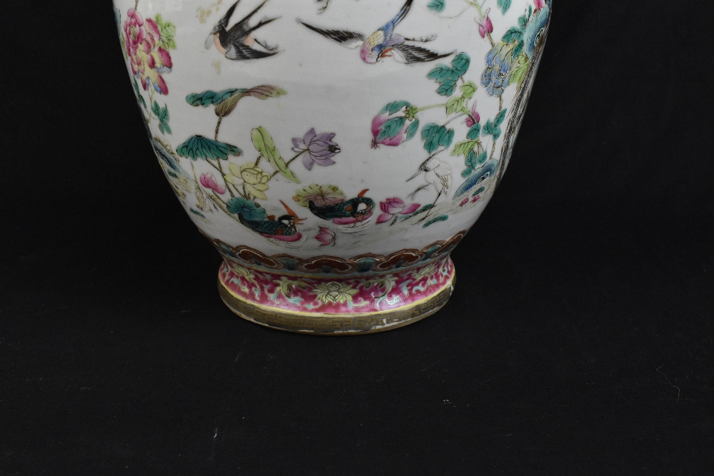 A large 19th century Chinese porcelain twin handled Famille Rose vase with flared neck with - Image 19 of 24