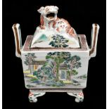 A 19th century Chinese Famille Verte Wucai porcelain koro and cover, the cover moulded with a shishi