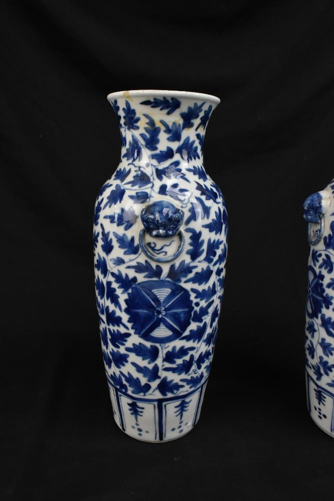 A pair of 19th century Chinese blue and white porcelain vases each with moulded handles representing - Image 6 of 14