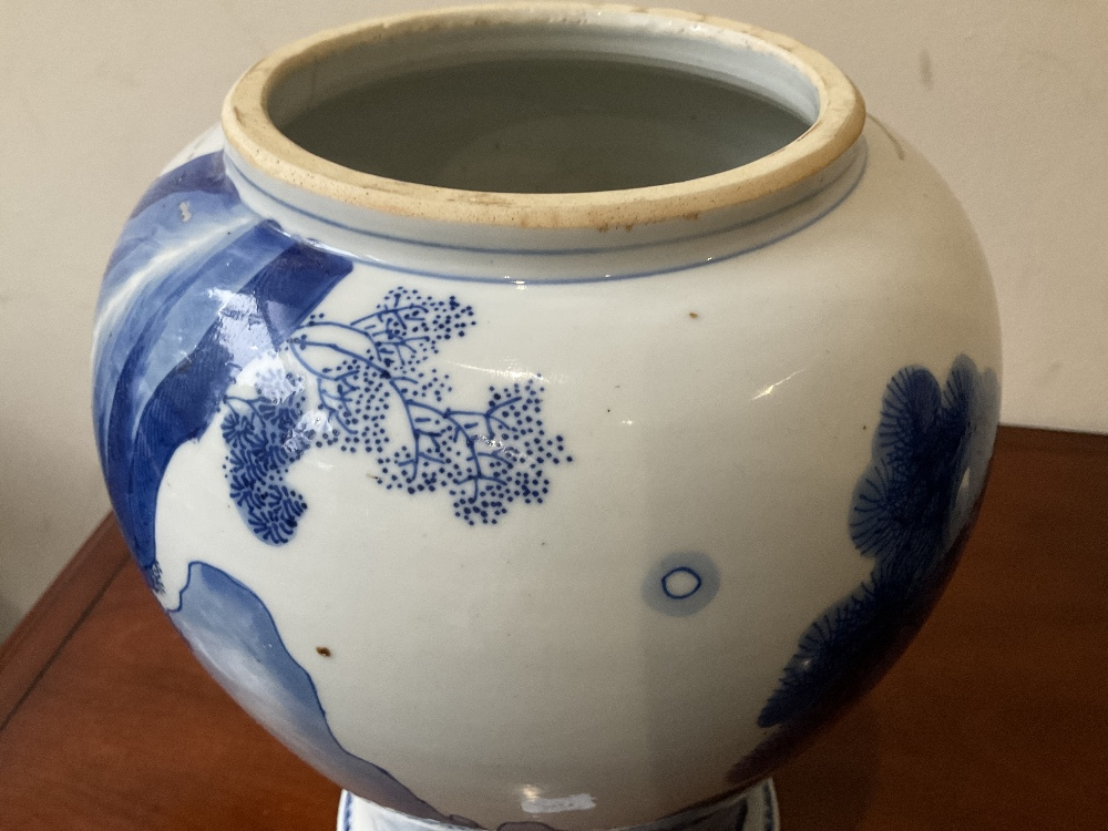 A 18th century Chinese Export blue and white vase with associated cover and stand decorated with - Image 21 of 21