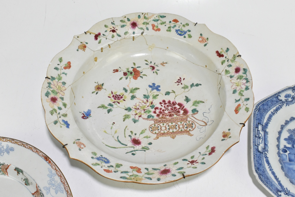 Four pieces of 18th century Chinese Export including a large Famille Rose bowl with scalloped - Image 3 of 15