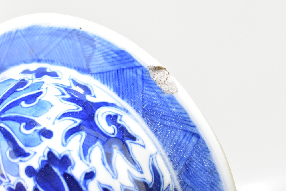 A late 19th century Chinese blue and white porcelain temple jar and cover, the top rim painted - Image 5 of 12