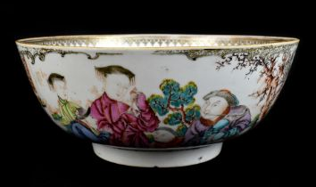 An 18th century Chinese Export Famille Rose footed bowl painted in enamels with figures in landscape