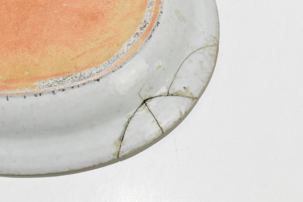 Four pieces of 18th century Chinese Export including a large Famille Rose bowl with scalloped - Image 9 of 15