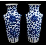 A pair of 19th century Chinese blue and white porcelain vases each with moulded handles representing