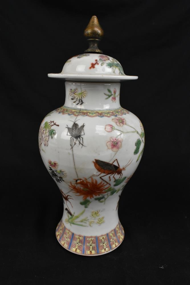 A pair of early 20th century Chinese porcelain Famille Rose temple jars and covers painted with - Image 5 of 16