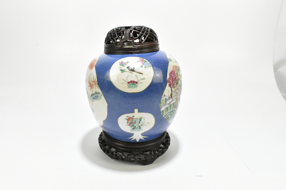 A late 19th century Chinese Famille Verte Wucai porcelain ginger jar with associated wooden cover - Image 4 of 10