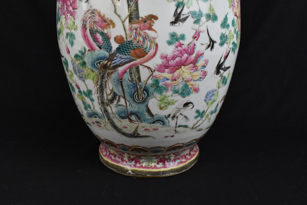 A large 19th century Chinese porcelain twin handled Famille Rose vase with flared neck with - Image 14 of 24