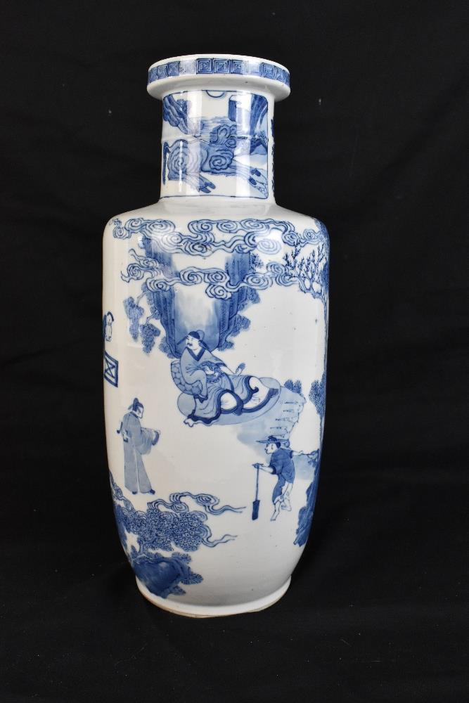 A good and large 19th century Chinese blue and white rouleau vase, painted with a continuous figural - Image 3 of 7