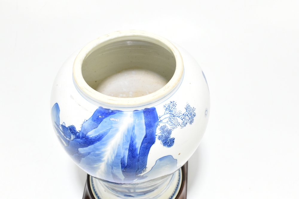 A 18th century Chinese Export blue and white vase with associated cover and stand decorated with - Image 7 of 21