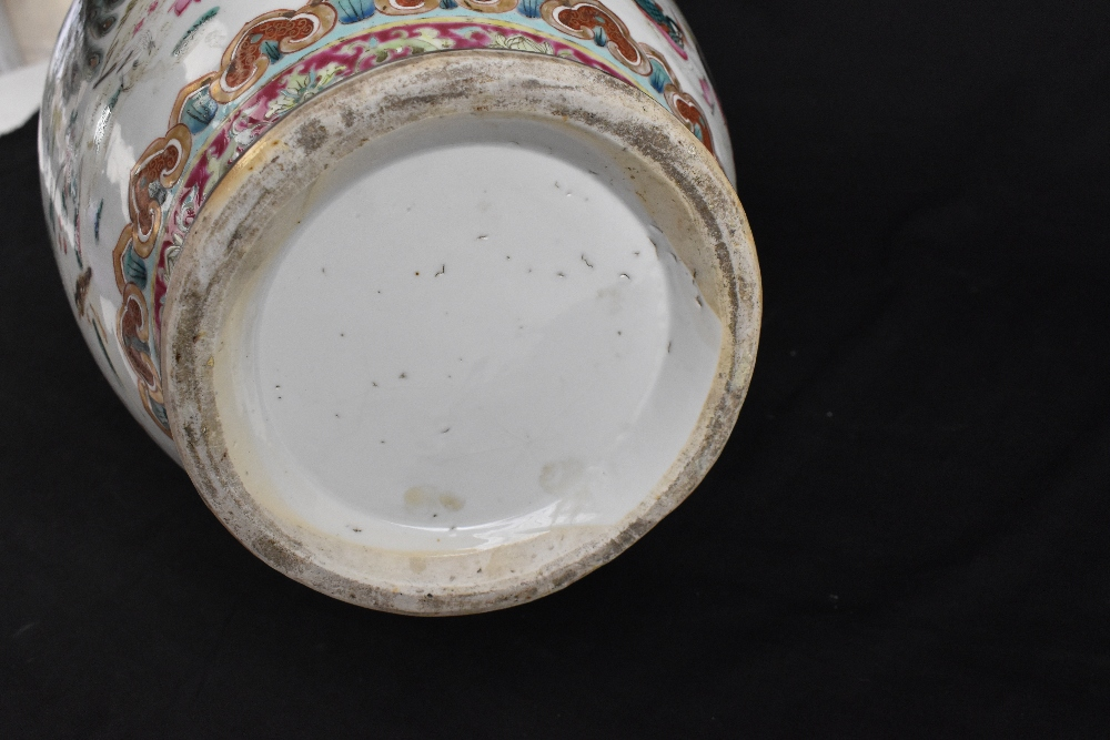 A large 19th century Chinese porcelain twin handled Famille Rose vase with flared neck with - Image 24 of 24