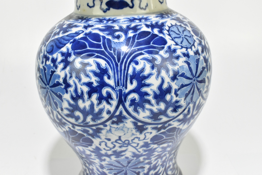 A late 19th century Chinese blue and white porcelain temple jar and cover, the top rim painted - Image 3 of 12