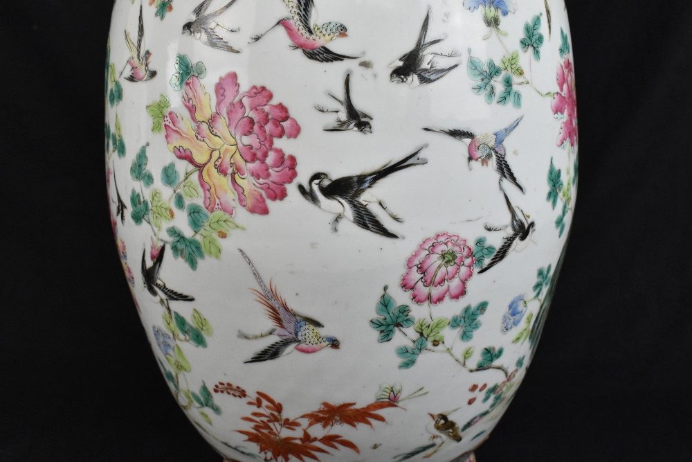 A large 19th century Chinese porcelain twin handled Famille Rose vase with flared neck with - Image 9 of 24