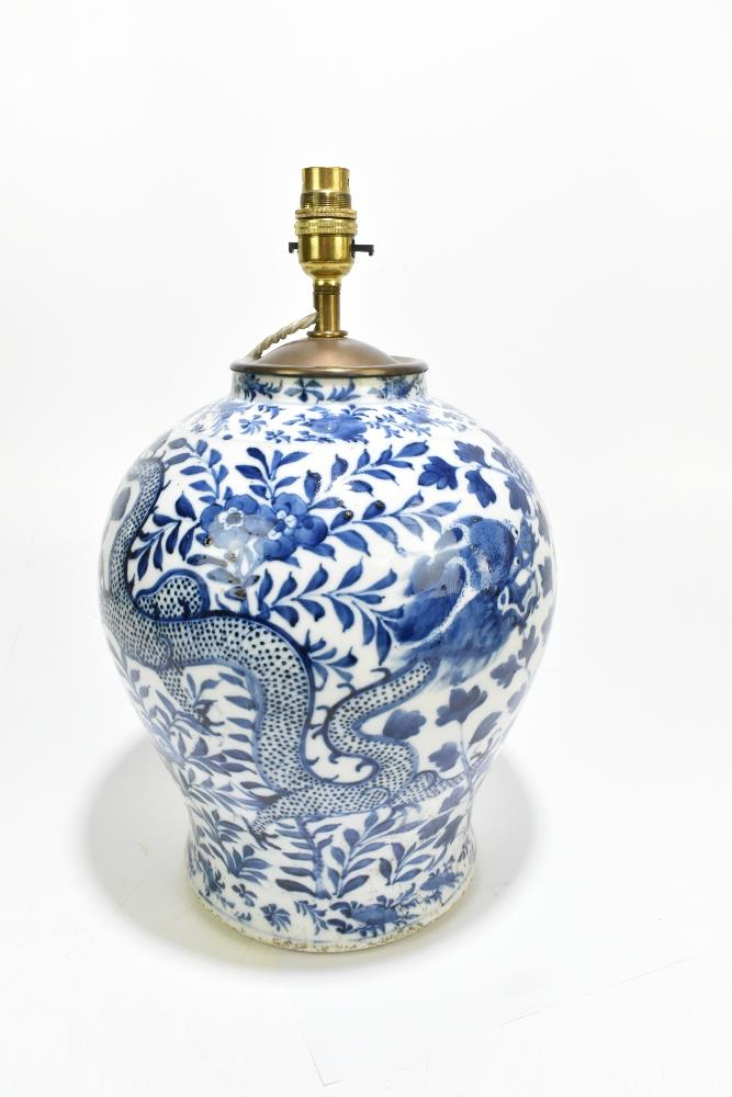 A 19th century Chinese blue and white porcelain vase converted to a table lamp, painted with a - Image 3 of 9