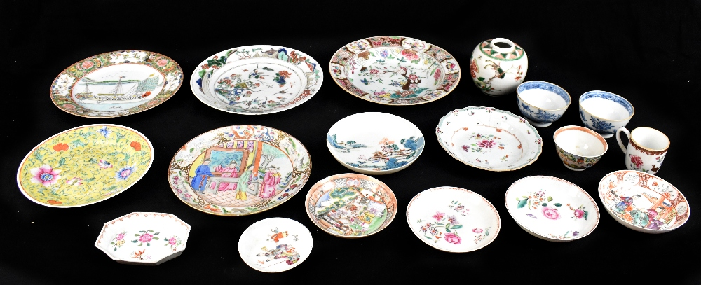 A group of Chinese porcelain including 18th century Famille Rose bowl, a similar Famille Verte