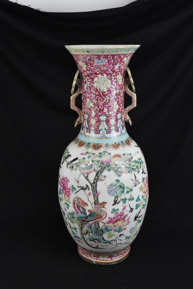 A large 19th century Chinese porcelain twin handled Famille Rose vase with flared neck with - Image 13 of 24