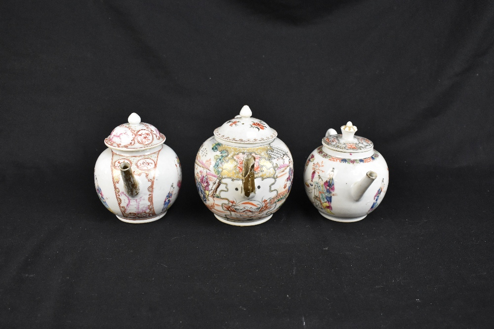 Three 18th century Chinese Famille Rose bullet shaped teapots including an example with figures - Image 2 of 10