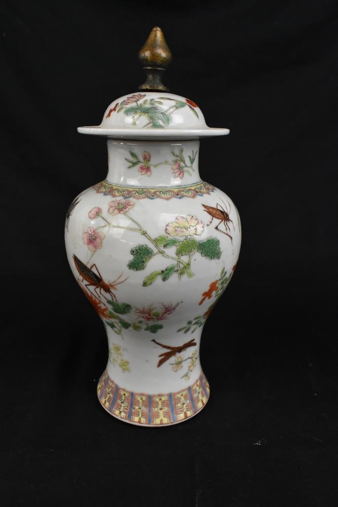 A pair of early 20th century Chinese porcelain Famille Rose temple jars and covers painted with - Image 4 of 16