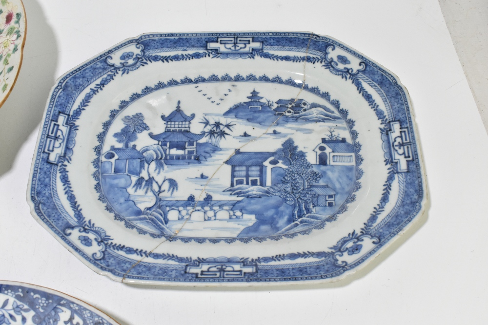 Four pieces of 18th century Chinese Export including a large Famille Rose bowl with scalloped - Image 5 of 15
