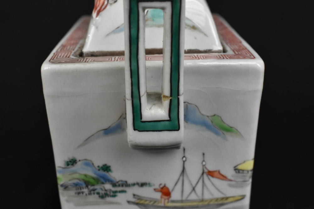 A 19th century Chinese Famille Verte Wucai porcelain koro and cover, the cover moulded with a shishi - Image 6 of 14