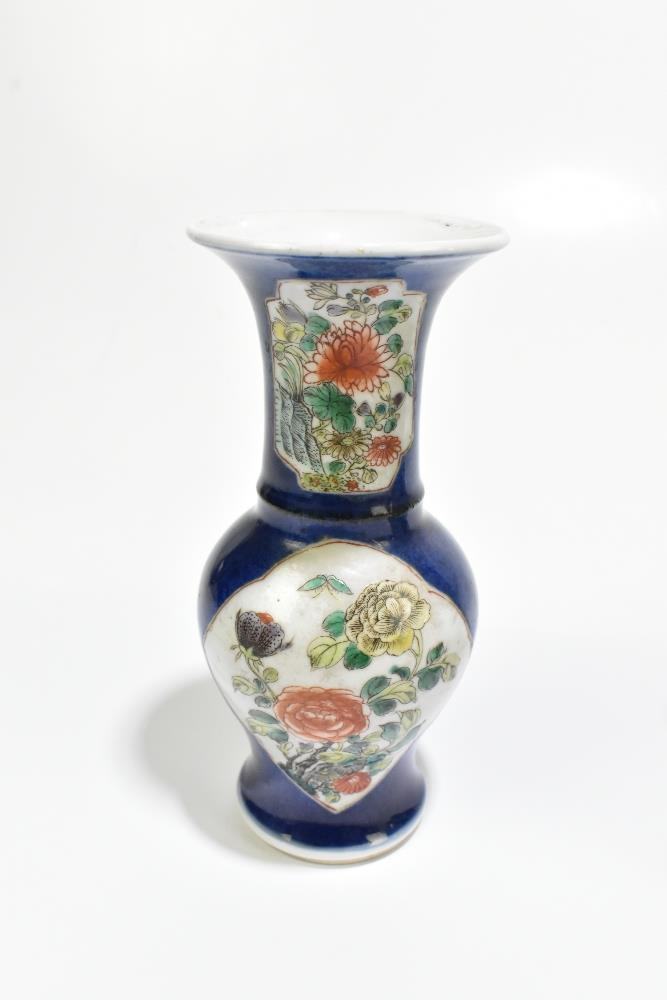 A 19th century Chinese Famille Verte Wucai porcelain vase of square form painted with objects, - Image 12 of 15