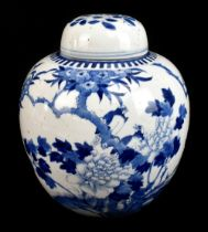 A late 19th century Chinese blue and white porcelain ginger jar and cover painted with exotic