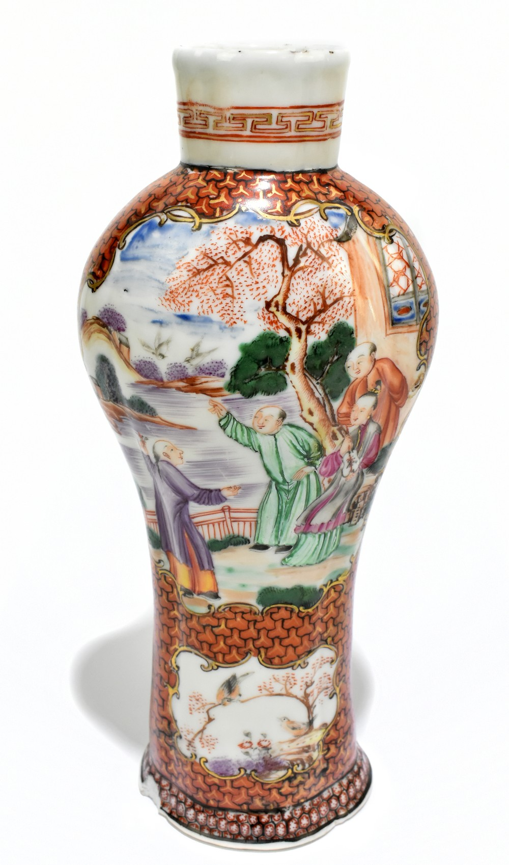 An 18th century Chinese Famille Rose porcelain vase painted in panels with elders in landscape