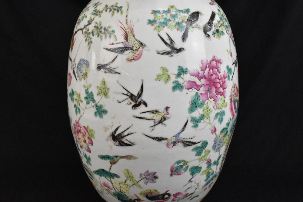 A large 19th century Chinese porcelain twin handled Famille Rose vase with flared neck with - Image 20 of 24