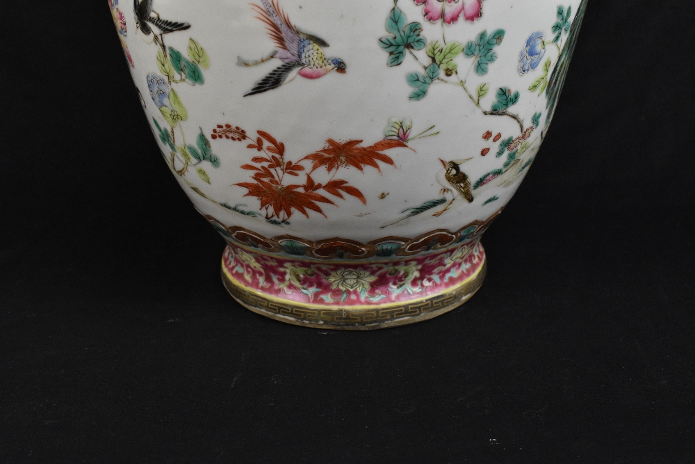 A large 19th century Chinese porcelain twin handled Famille Rose vase with flared neck with - Image 8 of 24