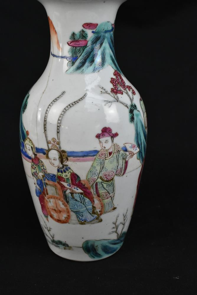 A late 19th century Chinese Famille Verte vase decorated in enamels with figures in landscape - Image 3 of 32