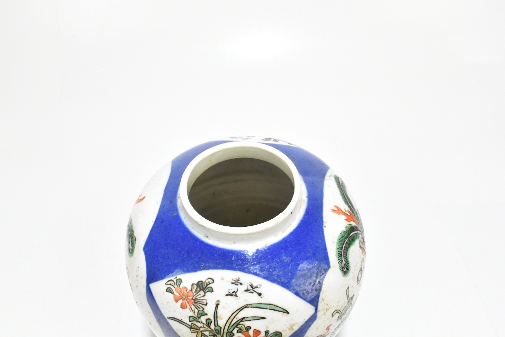 A late 19th century Chinese Famille Verte Wucai porcelain ginger jar with associated carved wooden - Image 4 of 11