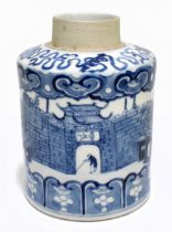 A late 19th century Kangxi style blue and white tea canister, decorated throughout with an
