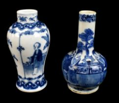 A late 19th century Chinese blue and white vase of bulbous form with cylindrical neck decorated with