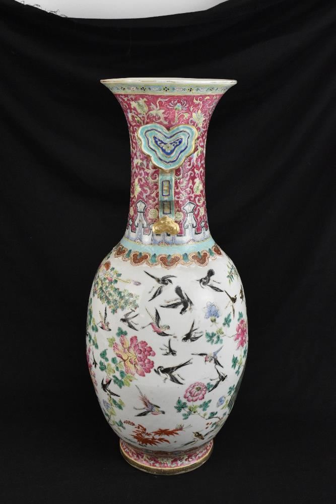 A large 19th century Chinese porcelain twin handled Famille Rose vase with flared neck with - Image 7 of 24