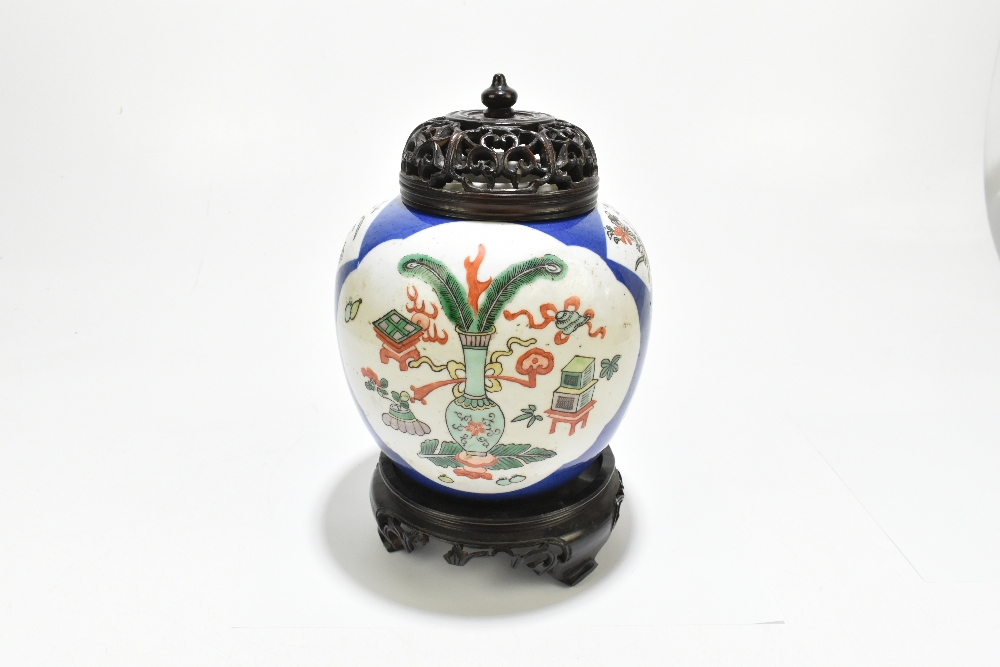 A late 19th century Chinese Famille Verte Wucai porcelain ginger jar with associated carved wooden - Image 2 of 11
