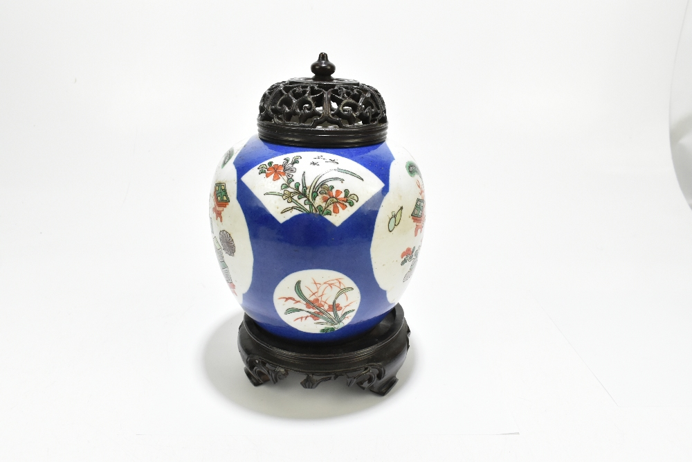 A late 19th century Chinese Famille Verte Wucai porcelain ginger jar with associated carved wooden - Image 11 of 11