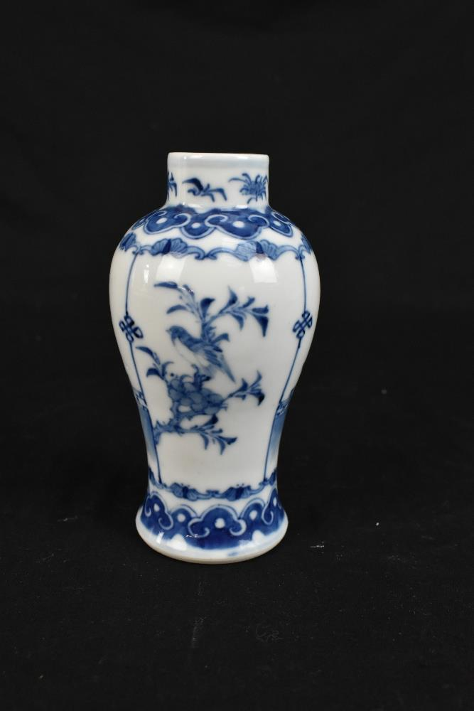 A late 19th century Chinese blue and white vase of bulbous form with cylindrical neck decorated with - Image 3 of 13