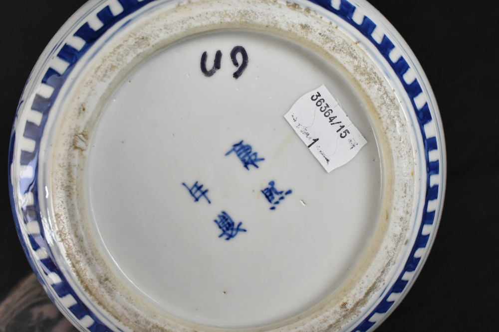A late 19th century Chinese blue and white porcelain ginger jar and cover painted with exotic - Image 6 of 8